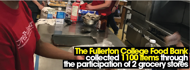 The Fullerton College Food Bank collected 1100 items through the participation of 2 grocery stores